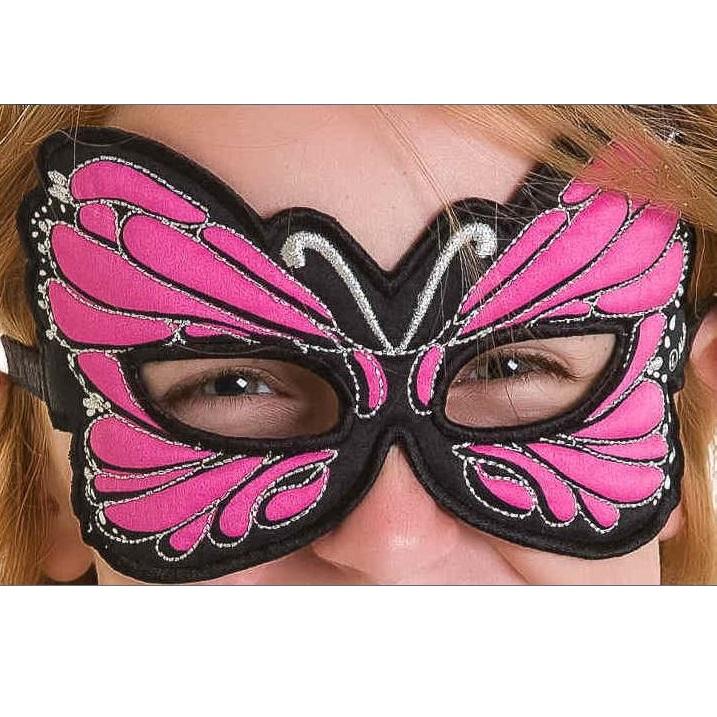 Látková škraboška Motýlik ružová